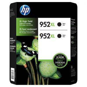 HP 952XL High Yield Black Ink Cartridges, Twin-pack, N9K29BN